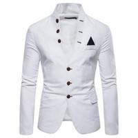blazers para homens tamanho xl venda por atacado-Mens ternos blazers tamanho euro 2019 primavera outono multi-botão dos homens decorativos stand-up gola terno