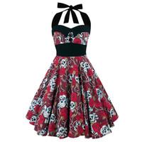 seksi pin up toptan satış-Kadınlar Çiçek Kafatası Baskı Kapalı Omuz Seksi Halter Elbise Vintage Hepburn Tarzı Yeni Pin Up Rockabilly Vestido