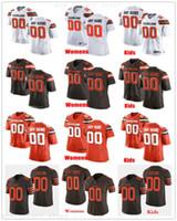 ingrosso marrone arancione jersey-Personalizzato ClevelandBrownsFootball Jersey Mens Donna Youth Kids Brown White Orange Maglie Messaggio e nome sull'ordine