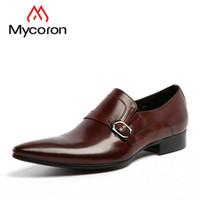 ботинки офисной обуви оптовых-MYCORON  Fashion Leather Buckles Men Dress Shoes Formal Boots Wedding Office Man Black Brown Shoes Mannen Schoenen