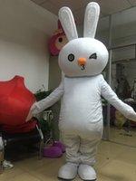 traje de coelho mascote adulto venda por atacado-Coelho traje da mascote para adultos 100% real imagem frete grátis