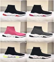 botas baixas china venda por atacado-Nova Paris Formadores de Velocidade Malha Meia Sapato Original de Luxo Designer de Mens Das Mulheres Tênis Baratos Alta Qualidade Superior Sapatos Casuais Com Caixa