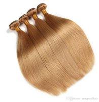 bakire ava saç örgüsü toptan satış-100% İnsan Virgin Saç Dokuma Renk 27 # Bal Sarışın Brezilyalı Hint Avrasya Rus İpeksi Düz Saç Uzantıları, 80gr pc 5 adetgrup