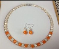 ingrosso collana arancione perle-monili all'ingrosso JWEW6561 7-8mm White Pearl Orange Jade Necklace Earring