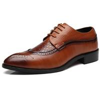 Wholesale oxford shoes 39 men for sale - Group buy Size Fashion PU Leather Men Dress Shoes Pointed Toe Bullock Oxfords Shoes For Men Lace Up Designer Men Luxury Shoes NXX717