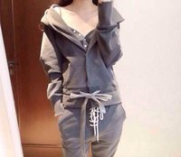 Wholesale irregular jumpsuit for sale - Group buy Women s Three piece Suit Fashion Solid Color Hooded Sweatshirt with Irregular Trousers Long Pants Casual Sport Jumpsuit Color Grey Size S XL