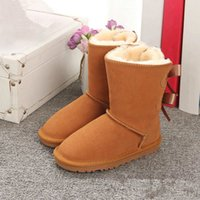Wholesale kids girl leather snow shoes resale online - Winter Australia Baby Snow girls childrens boots Style Cow Suede Leather Waterproof Winter Cotton boots Warm boots shoes kids
