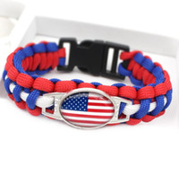 Wholesale life saving bracelet resale online - outdoor sports life saving bracelet new flags wristband parachute rope bracelet outdoor emergency bracelets charm wristbands gift