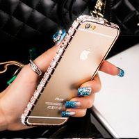 ingrosso cristallo bling blumper iphone-Per iPhone Custodia Luxury Diamond Diamond Bumper per iPhone 8 7 6 6S Plus Custodia Glitter Crystal Rhinestone Snake Inlay Metal Frame Cover