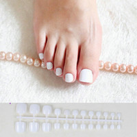 Wholesale false nails for toes resale online - 24pcs White Acrylic Toe Nails Fake Girls Square Press On Nails For Foot Articficial Candy Macaron Color False Toenails