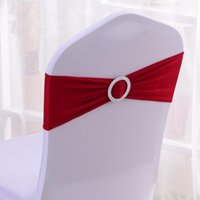 Wholesale pink chair bands for sale - Group buy Band Wedding Bow Tie Backs Props Bowknot Spandex Chairs Sash Buckles Cover Back Hostel Trim Pink sk