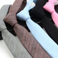 evlilik kravatı toptan satış-Erkekler Için 6 cm Business Suit Pamuk Keten Boyun Bağları Gelinlik Evlilik Papyon Gravatas İnce Kravat Vestidos Kravatlar