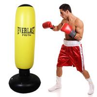mma sacos de boxeo al por mayor-Niños inflables de fitness Saco de boxeo Estrés Ponche Torre Velocidad Bolsa Soporte Poder Boxeo MMA Bolsa objetivo para niños Adolescentes Adultos