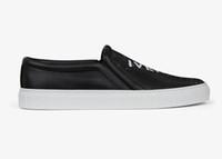 kaliteli deri kayma ayakkabıları toptan satış-Moda adam kadınlar lüks tasarımcı ayakkabı baskılı slip-on sneaker siyah gerçek deri en kaliteli rahat elbise ayakkabı italya el yapımı ayakkabı
