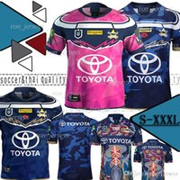 porter des maillots achat en gros de-2019 QUEENSLAND COWBOYS Rugby NORD Jersey Cowboys 2019 Maillots Indigenous Défense Hommes Johnathan Thurston 2018 Témoignage Premiership