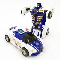 auto stoß großhandel-10 STÜCKE Polizeiwagen Zurückziehen Stoß in Transformation Verformung Roboter 2 In 1 Auto Modell Fahrzeug Jungen Spielzeug Geschenk AIJILE