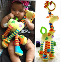 Wholesale giraffe teether resale online - Plush Infant Baby Development Soft Giraffe Animal Handbells Rattles Handle Toys cm Hot Selling WIth Teether Baby Toy