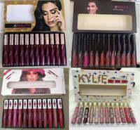 12pcs dudak toptan satış-stokta Sıcak 12 renk Mat Likit Rujlar Seti Kozmetik 12pcs / set Dudak Seti