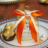 ingrosso scatola regalo di lusso della caramella dei fiori-2019 nuova confezione regalo gabbia d'oro festa di nozze di lusso preferiscono decorazione in metallo cioccolatino fiore
