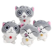 mini bebek video toptan satış-2019 yeni Kedi Miyav Koleksiyon Mini Peluş Dolması Bebekler Sevimli Küçük Kalem dant Peluş Oyuncaklar (Renk: Gri)