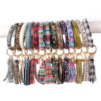 Wholesale fashion plastic bangles resale online - PU Leather Bracelet Keychain Women Fashion Leopard Bufflao Plaid Wristlet Keychain Tassel Bangle Keychain Wristband Novelty Items OOA7366