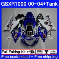 k3 gsxr verkleidungen großhandel-+ Tank Heißer blauer Rahmen für SUZUKI GSX R1000 GSXR1000 2000 2001 2002 2003 2004 299HM.51 GSXR-1000 K2 GSX-R1000 K3 GSXR 1000 01 02 03 04 Verkleidung