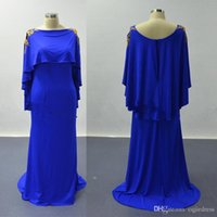 cuchara de oro al por mayor-2019 New Cape Sleeves Vestidos de baile Royal Blue Golden Lace Appliqued Scoop Satin Vestidos de fiesta de noche Vestidos De Fiesta