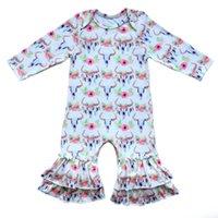 pyjama achat en gros de-Tête de taureau Stear Ruffle Romper bébé garçon barboteuse tenue de Noël infantile dormeurs bébés filles pyjama robe Buffalo Plaid Jumpsuit J190523