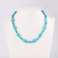 fabricantes de joyas extranjeras al por mayor-Collar de turquesa adornos en forma de huevo de piedra natural comercio exterior joyería fabricantes suministro