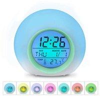 горячий будильник оптовых-HOT-Kids Alarm Clock - цифровые часы с пробуждением, с 7 сменой цветов, функцией контроля нажатия и повтора для спален