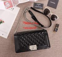 sacos de ombro pretos do couro envernizado venda por atacado-Bolsa de marca de couro de patente bolsa de alta qualidade moda bolsa de ombro preto saco de moda feminina AB-7