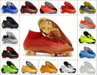 Wholesale red gold cr7 size resale online - Mens Mercurial Superfly VI Elite FG KJ XII CR7 High Soccer Shoes th Football Boots Cleats Size