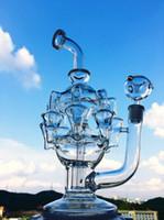 tazones de araña al por mayor-12 pulgadas Eight-Arm Chandelier Recycler diseño exclusivo plataforma de aceite plataforma de agua de vidrio tubo de agua burbujeador de vidrio bong con tazón