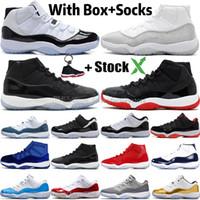 yılan derisi basketbol ayakkabıları toptan satış-Kutu WMNS Metalik Gümüş ile 11 11'leri Yüksek Concord 45 Space Jam Erkek Basketbol Ayakkabı Bred Gym Kırmızı Yılan derisi Gri Erkekler Spor Tasarımcı Sneakers
