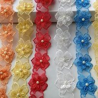 15362 Pearl Flower Soluble Organza Lace Trim Knitting Wedding Embroidered DIY Handmade Patchwork Ribbon Sewing Supplies Craft