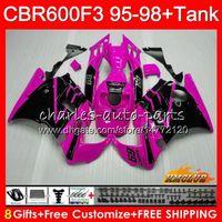 1996 honda cbr pink fairings toptan satış-Honda CBR600RR CBR 600 FS 1995 1996 1997 1998 41NO.222 CBR600F3 CBR 600F3 pembe blk sıcak CBR600FS CBR600 F3 95 96 97 98 grenaj için Kiti + Tank