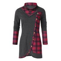 kore rengi bluz siyah toptan satış-Womens Tops Ve Bluz Siyah Ekose Bluz Kadınlar 2019 Şifon Bayanlar Turtleneck Kadınlar Üst Streetwear Kore Moda Giyim Tops