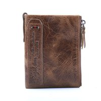 Wholesale horse wallets purses resale online - 100 Crazy Horse Genuine Leather Men Wallets Credit Business Card Holders Double Zipper Cowhide Leather Wallet Purse Carteira TQ