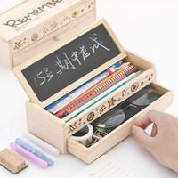 kore kutusu sevimli toptan satış-1 Adet Sevimli Kore Kırtasiye Güzel Kalem Kutusu multi-fonksiyonel Ahşap Çekmece Kutusu Şekli Kalem Kutusu Okul Ofis Tutucu