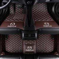 alfombras impermeables al por mayor-nueva MSUEFKD Custom Car Liner piso de Mazda 3 5 6 CX5 CX7 CX9 MX5 CX3 Leather Auto esteras de alfombras rojas impermeable de lujo 3d tapetes Shipp libre