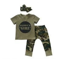 jungen, die sätze armee kleiden großhandel-Baby Sets Nette Neugeborenes Baby Mädchen T Shirts Tops + Hosen Stirnband Kleidung Armee Grün Outfits Set