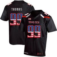 negro camiseta de julio jones al por mayor-Mens Custom Mychealon Thomas Football Jersey Texas Tech EE. UU. Bandera Impresión de moda de alta calidad cosida College American Football Jerseys