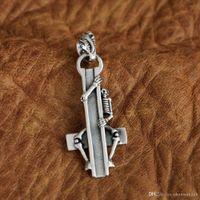 gizli takılar toptan satış-LINSION 925 Ayar Gümüş Gizli Kafatası Çapraz Charms Kolye TA95 JP