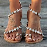 chaussures plates achat en gros de-Mode Femmes D'été Perle Perlé Flats Sandale Flip Flop Toe Ouvert De Mode Chaussure Décontractée Anti Slip