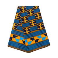 patrones de batik africano al por mayor-Patrón geométrico de 6 yardas de tela de algodón 100% de nuevas telas impresas de doble cara teñidas de Batik para todos los molinos de poliéster de África