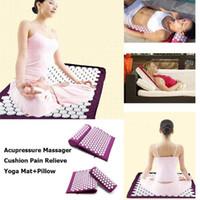 pvc masaj paspasları toptan satış-Ucuz Yoga Minderleri Yoga Minderi Yastık Akupunktur Setleri Geri Ağrı Akupresur Mat Yastık Masaj Gül Spike Masaj Rahatlama Stres kurtarıyoruz