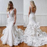 Wholesale v neck wedding dresses ruffle resale online - Sexy Mermaid Lace Backless Wedding Dresses Deep V Neck Beach Bridal Gowns Ruffled Skirt Plus Size Bohemian Trumpet Vestidos De Novia