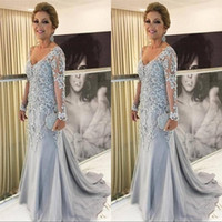 Wholesale plus size mother bride lace for sale - Group buy New Arrival Mermaid Plus Size Party Evening Gowns V Neck Long Sleeves Lace Appliques Tulle Beads Sweep Train Mother of The Bride Dress