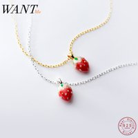 Wholesale jewelry strawberry pendant resale online - WANTME Trendy Sweet Red Strawberry Pendant Necklaces for Women Genuine Sterling Silver Party Fine Jewelry Accessories