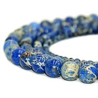 jaspe azul venda por atacado-Pedra Natural Azul Jasper Imperial Contas Rodada Golfo Pérsico Ágata Pedra Preciosa Solta Pérolas para DIY Pulseira Fazer Jóias 1 Vertente 8mm